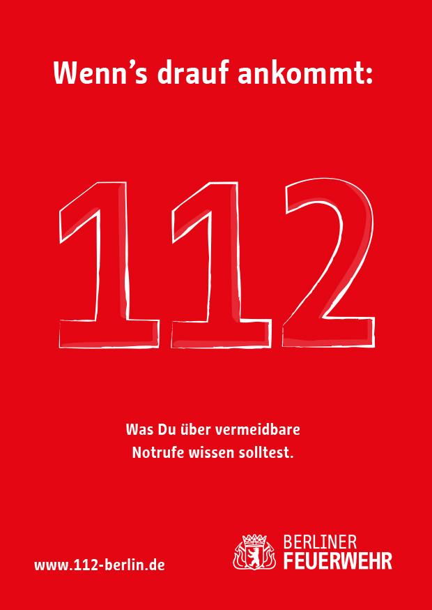 Titelseite des Flyers zur Notruf-Kampagne