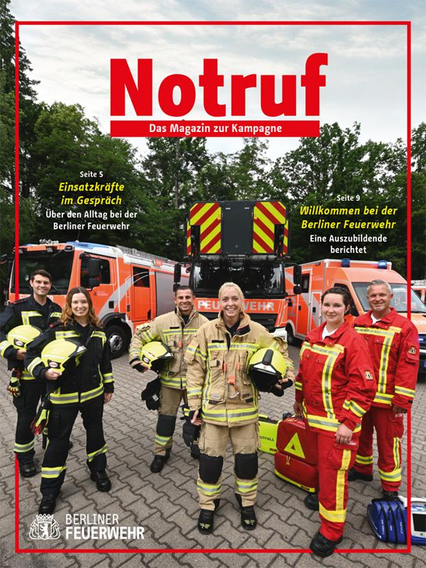 Titelseite des Magazins zur Notruf-Kampagne